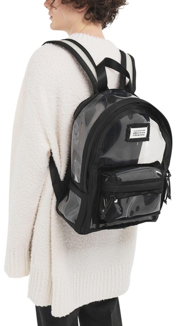 Item - Black Clear Plastic Leather Backpack
