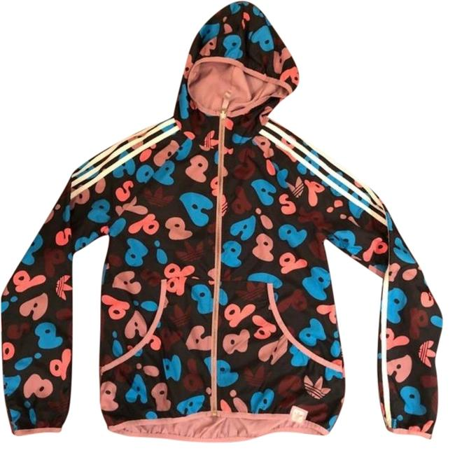 Item - Black / Pink / Blue A-print Reversible Track Windbreaker Activewear Outerwear Size 4 (S)