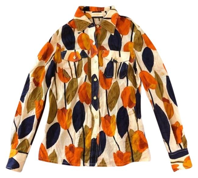 Item - Cream/Orange/Olive/Navy Tulip-print Button Front Shirt Button-down Top Size 0 (XS)