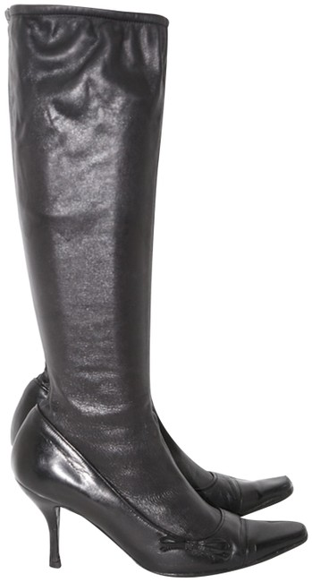 Item - Black Vintage Womens Leather Knee High Pull On Boots/Booties Size US 6.5 Regular (M, B)
