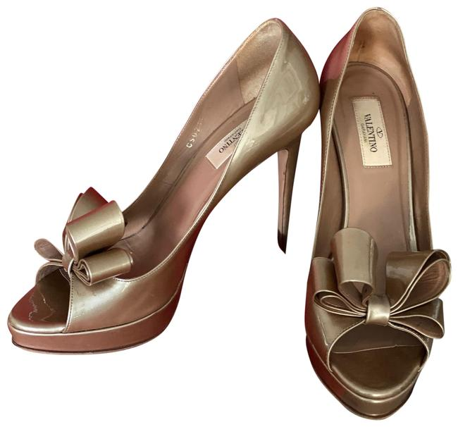 Item - Bronze ( See Pictures) Couture Bow Open Toe Pumps Platforms Size EU 40 (Approx. US 10) Regular (M, B)