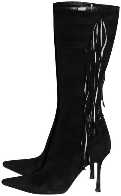 Item - Black Suede Pointed Toe Tall Boots/Booties Size US 7.5 Regular (M, B)