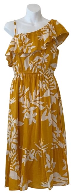 Item - Yellow and White Floral One Shoulder Midi Mid-length Casual Maxi Dress Size 2 (XS)