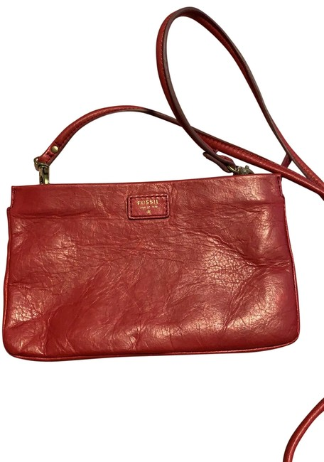 Item - Red / Gold Cowhide Leather Cross Body Bag