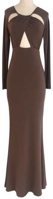 Item - Brown Diva Bodycon Maxi Evening Gown Nwot Long Night Out Dress Size 12 (L)
