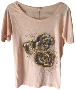 J.Crew Embroidered Ribbon Beaded Graphic Flower T Shirt Orange