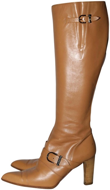 Item - Beige Leather Tall Riding Knee High Block Boots/Booties Size US 9 Regular (M, B)