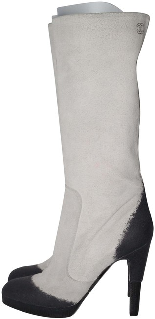 Item - White Gray Leather Knee High Platform Stiletto Cc Logo Boots/Booties Size US 9 Regular (M, B)