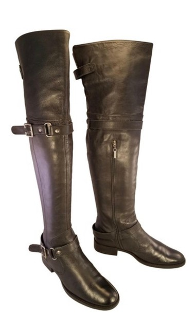 Item - Black Otk Over The Knee Leather Boots/Booties Size US 7.5 Regular (M, B)