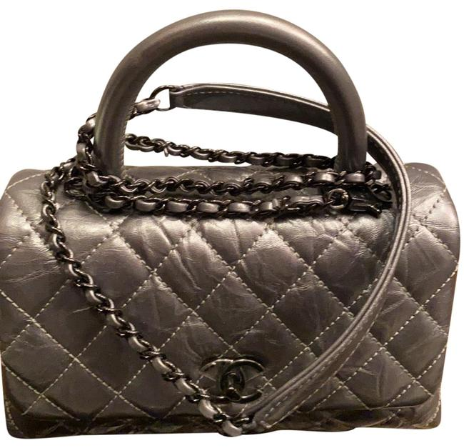 Item - Classic Flap With Handle Charcoal Distressed Leather Baguette