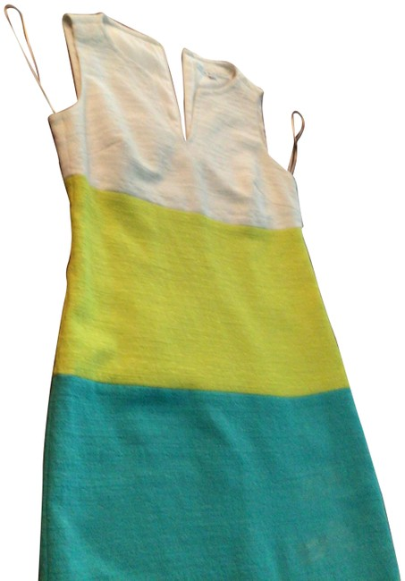 Item - Teal Blue White Lime Short Casual Dress Size 6 (S)