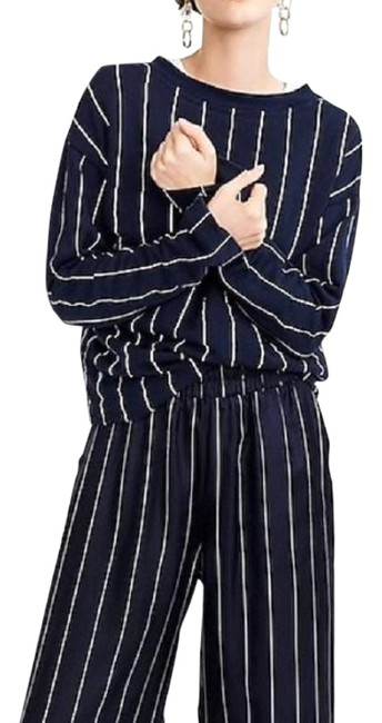 Item - Navy & White Pinstripe Collection Silk Palazzo Pants Size 4 (S, 27)