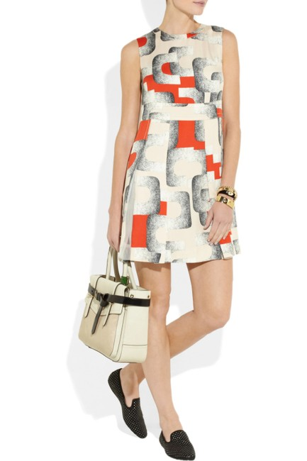 Item - Cream Hayley Printed Silk Short Formal Dress Size 6 (S)