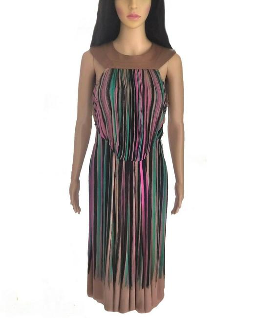 Item - Tan Multi Color Vintage Runway Couture Plunge 1990's Long Casual Maxi Dress Size 8 (M)