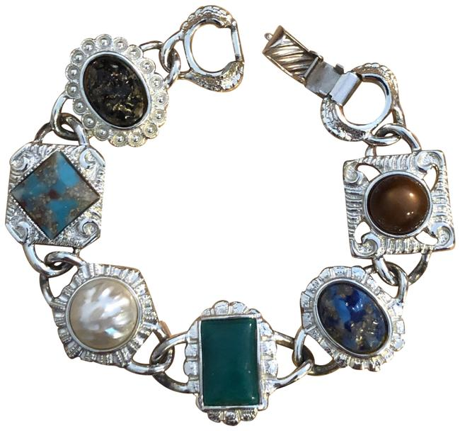 Item - Silver Green Blue Brown and Cream Fashionable Bracelet