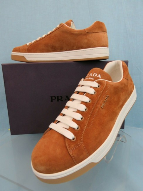 Item - Brown 4e3507 Camel Suede Lace Up Logo Low Top Sneakers 8.5 Us 9.5 Shoes