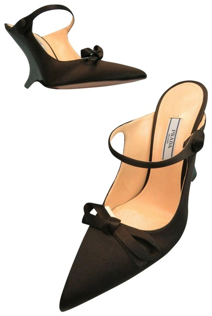 Item - Black 1i484l Satin Buckle Strap Bow Patent Mules Pumps Italy Wedges Size EU 38 (Approx. US 8) Regular (M, B)