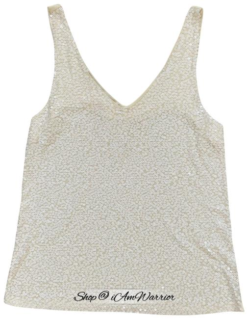 Item - Cream Sequin V-neck Tank Top/Cami Size 12 (L)