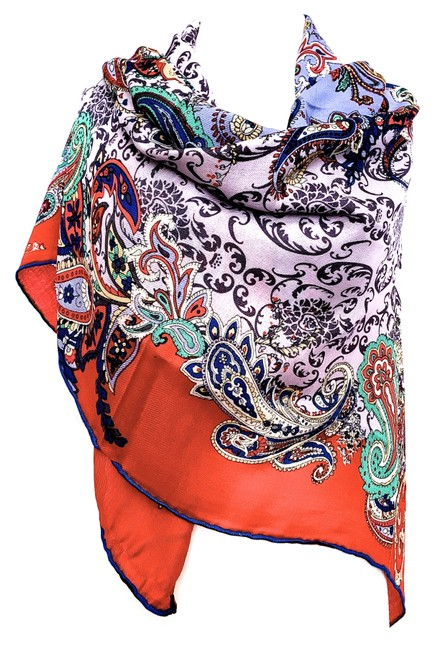 Item - Gray and Red Silk Wool In Vibrant Paisley Pattern Scarf/Wrap