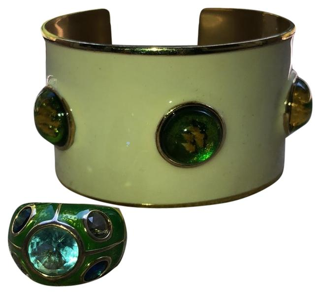 Item - Cream/Green/Blue Enamel Cuff with Matching Ring Bracelet