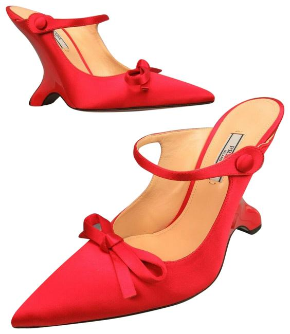 Item - Red 1i484l Satin Buckle Strap Bow Patent Mules Pumps Italy Wedges Size EU 39 (Approx. US 9) Regular (M, B)