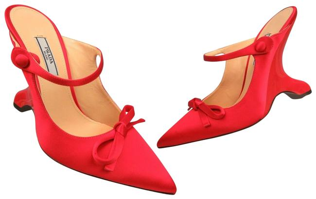 Item - Red 1i484l Satin Buckle Strap Bow Patent Mules Pumps Italy Wedges Size EU 37.5 (Approx. US 7.5) Regular (M, B)