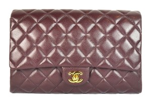 Chanel Cc Caviar A65051 Flap Classic Burgundy / Gold Clutch
