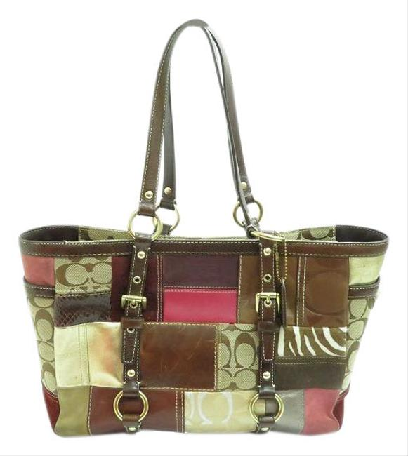 Item - Logo Holiday Patchwork Gallery 10437 Ladies Brown Canvas Tote