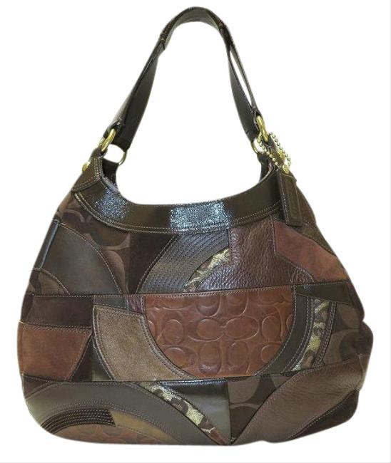 Item - Bag Ocelot Patchwork Dark Brown Leather Tote