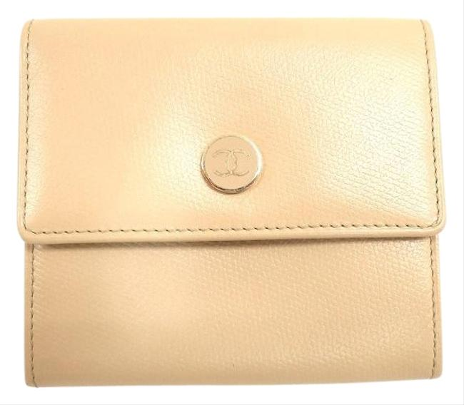 Item - Beige W Coco Button Hook Leather Bi-fold Women Wallet