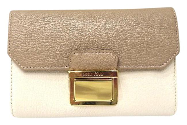 Item - Beige / Ivory Madras Leather 5m1225 Tri-fold Ladies Wallet