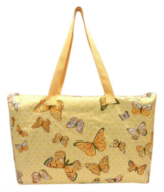 Item - Tote Butterfly Pattern Ladies Yellow Canvas Shoulder Bag