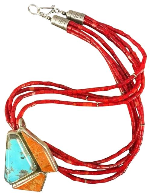 Item - Red Blue Indian Sterling Silver Coral Turquoise Bead Pendant 20 Necklace
