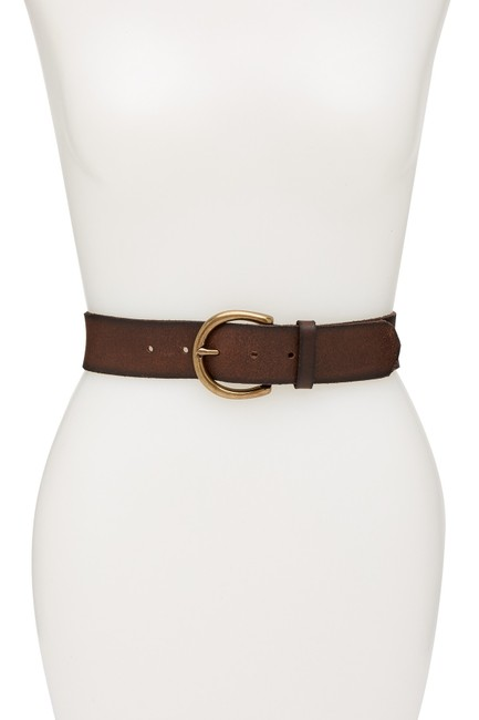 Item - Brown Flat Panel Leather Wide Extra Large Belt