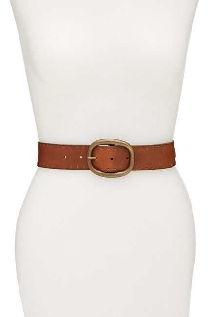 Item - Tan Perforated Edge Leather Panel Extra Large Belt