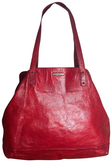 Item - Bag Large Rich Satchel/Tote Red/Gold Accents Leather Tote