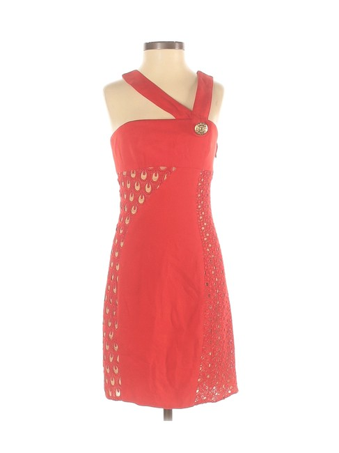 Item - Red Lace Gold Button Asymmetrical Collar Strap Short Cocktail Dress Size 4 (S)