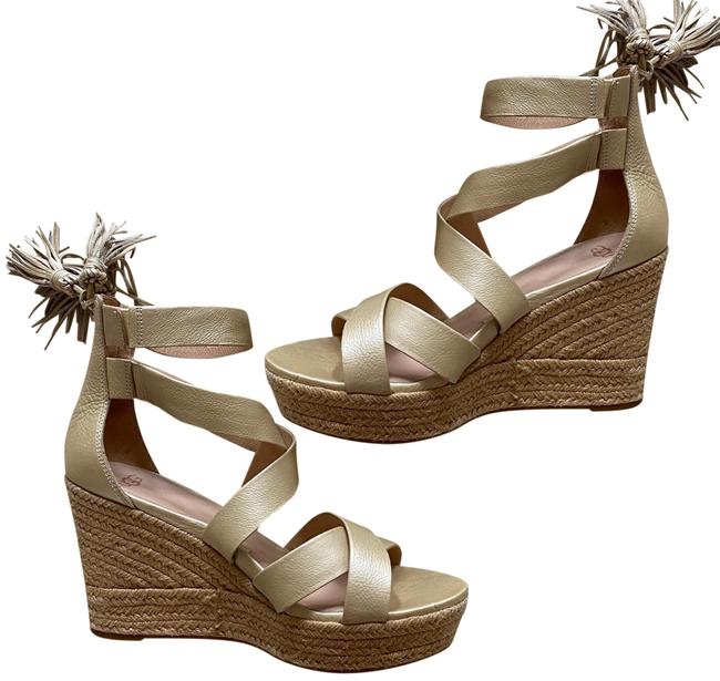 Item - Gold and Beige Like New Leather Espadrille Wedges Size US 9.5 Regular (M, B)