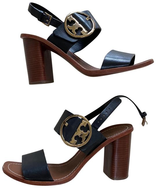 Item - Brown and Black Gold Leather Wood Chunky Heels Formal Shoes Size US 10 Regular (M, B)