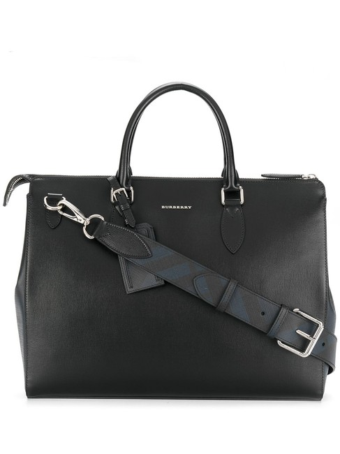 Item - London Bermondsey Check Large Business Briefcase Black Leather Messenger Bag