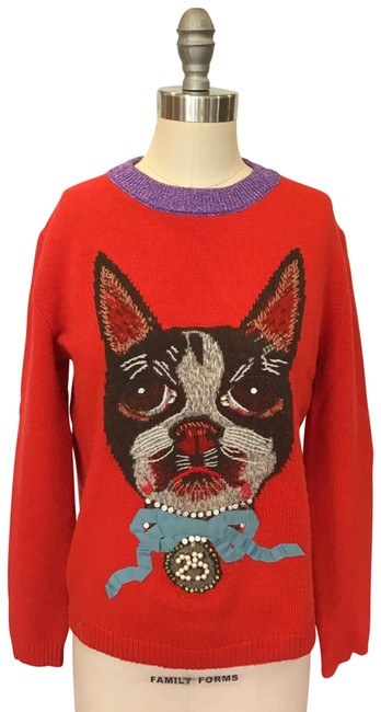Item - Wool Mystic Cat Embellished Red Sweater