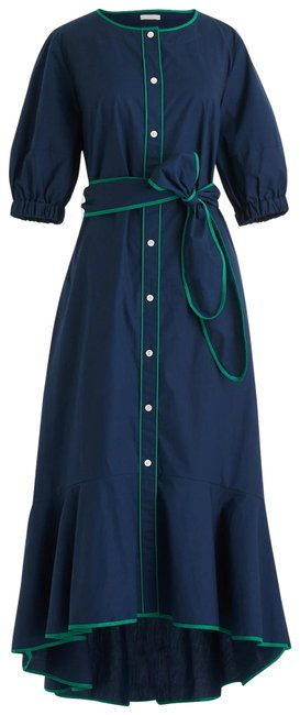 Item - Navy Blue Tipped Cotton Poplin Mid-length Casual Maxi Dress Size 4 (S)