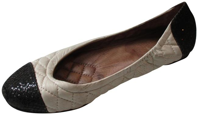 Item - Black and Cream Quilt with Glitter Ballet Flats Size US 6 Regular (M, B)