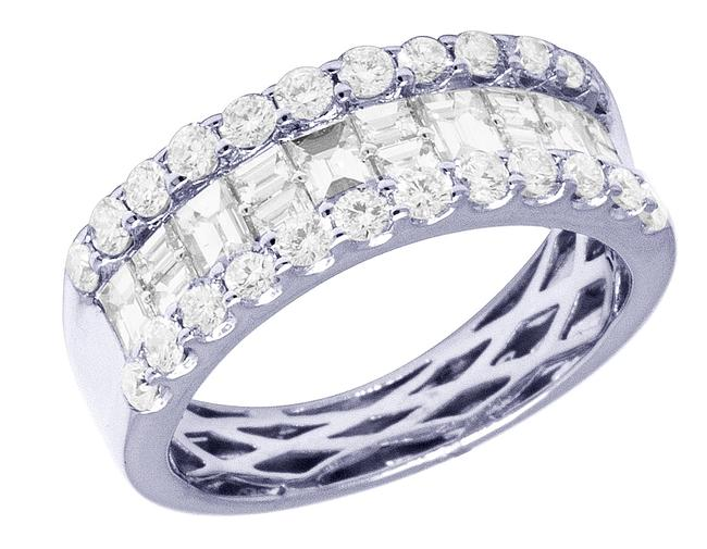 Item - 14k White Gold Real Diamond 3 Row Baguette Wedding Band 2.1ct 8mm Ring