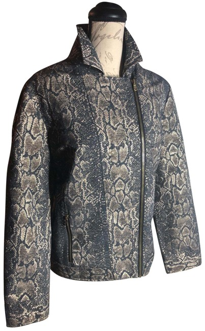 "Item - Charcoal Gray/Gold/Bronze/Brass/Black Lining Large-chico's (Sz 2) Gray/Metallic Accents ""snakeskin"" Print Style Jacket Size 12 (L)"