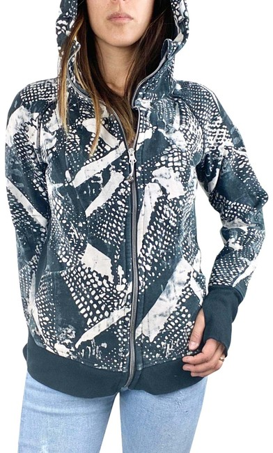 Item - Black White Bleached Effect Hooded Activewear Outerwear Size 8 (M)