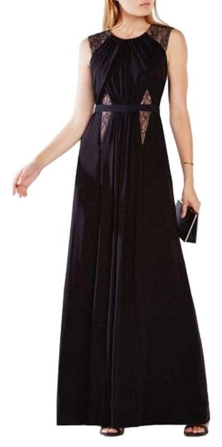 Item - Black Jersey Lace-blocked Gown Long Formal Dress Size 6 (S)