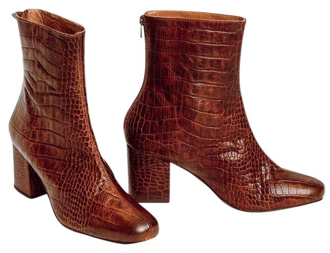 Item - Brown Cecile Croc Embossed Block Heel Leather Boots/Booties Size EU 37 (Approx. US 7) Regular (M, B)