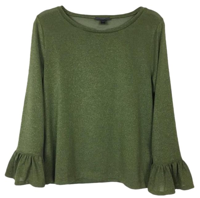Item - Gold Green Sparkle Bell Sleeve Blouse Size 8 (M)