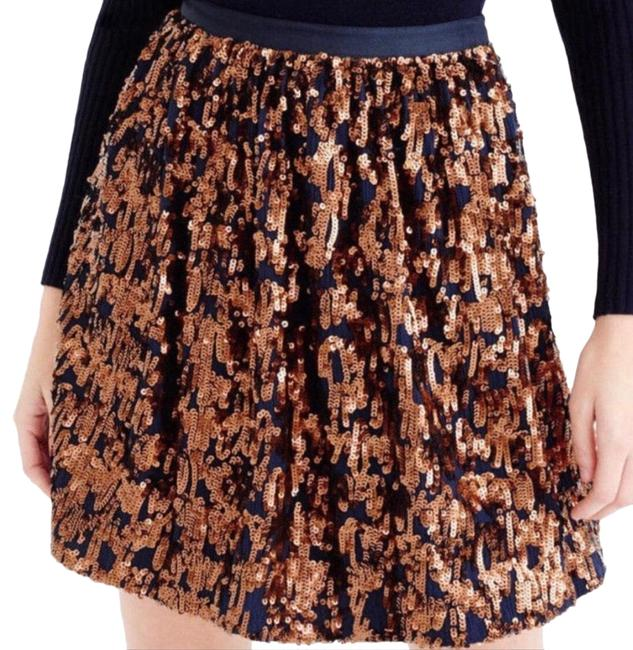 J.Crew Bronze and Navy Blue Abstract Sequin Skirt Size 4 (S, 27) J.Crew Bronze and Navy Blue Abstract Sequin Skirt Size 4 (S, 27) Image 1